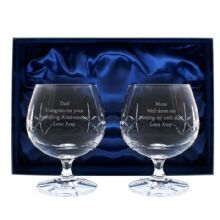 Crystal Pair of Brandy Glasses